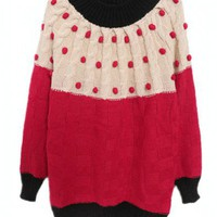 Oversized Pom Pom Knitted Jumper with Color Block Design