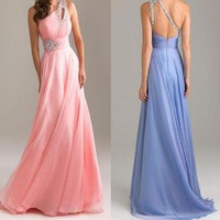 New!Shinning One Shoulder Prom Evening Party Long Gown Dress