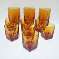 Retro Amber Glasses  Set of 10 Cut Glass Tumblers by ItchforKitsch