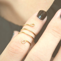 Knuckle Ring Loop Coil Single Joint Ring Gold Brass Wire Wrap Stackable Bohemian Hippie Eclectic Statement Jewelry Adjustable