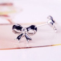 Chic Rhinestone Silver Tone&amp; Black Bow Stud Earrings at Online Cheap Fashion Jewelry Store Gofavor