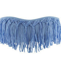 The Girl and The Water - L Space - Knotted Dolly Fringe Bandeau Powder Blue - $81