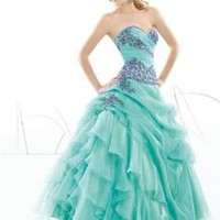 New Applique Organza Quinceanera Dresses Prom Dress Sweet 16 Party Dresses