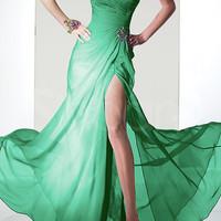 Elegant Dark Green A-line Side Split Chiffon Prom Dress from SinoAnt