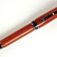 Handcrafted Wooden Pen Hand Turned Blood Wood and Black Titanium Hardware 374M