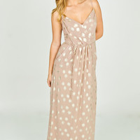Pink Polka Dot Maxi Dress- Blush Metallic Dress- Floor Length Peach Dress Womens Dresses - Casual Dresses - Semiformal Dresses - Sundresses from For Elyse