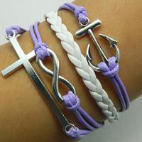 bracelet - antique silver bracelet cross bracelet anchor bracelet, purple wax cord and leather braided bracelet