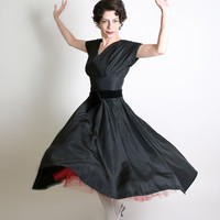 1950s Cocktail Dress Cordette of California Vintage Black by zwzzy