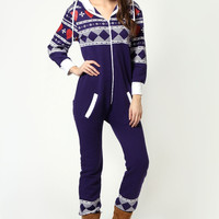 Sarah Heart Fairisle Print Hooded Onesuit