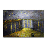 Stretched Handmade Oil Painting on Canvas Starry Night over the Rhone by Vincent Van Gogh 24 x 36 SZH182 - $50.05