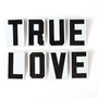 "Vintage Metal Sign Letters ""True Love"" Black on White (2-1/2 inches tall) with Lip - Valentine's Day Decor, Altered Art and More"