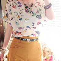 New White Sexy Women&#x27;s Colorful Birds Chiffon T-shirts Loose Blouses Tees Tops