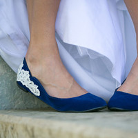 Wedding Flats - Blue Wedding Ballet Flats with Ivory Lace Applique. US Size 9
