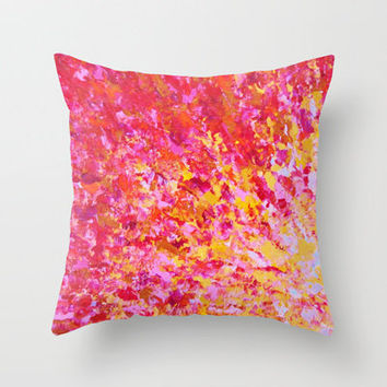 ROMANTIC DAYS - Lovely Sweet Romance, Valentine's Day Sweetheart Pink Red Abstract Acrylic Painting Throw Pillow by EbiEmporium | Society6