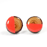 Neon Red Half-Moon Painted Branch Post Earrings