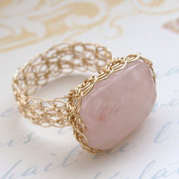 Rose Quartz Ring 14K Gold Fill Wire Crochet