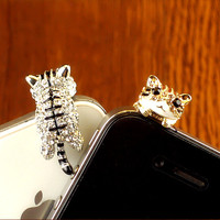 Clear Crystals Little Kitten 3.5mm Phone Anti-Dust Plug  from WANDERLUSTINY