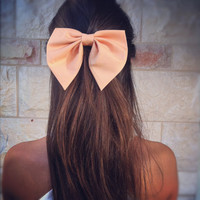 Unique peach Pink bow - BIG hair bow