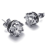 Titanium Steel Transparent CZ Crown Shape Stud