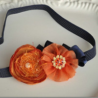 Orange Floral Headband Orange and Blue Ruffles by lewisandbucky