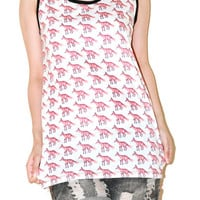 Fox Jackal White Women Top Animal Shirt Tank Top Tunic Photo Art Punk Rock Pop Animal T-Shirt Size S