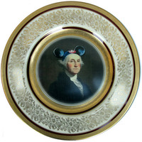 Mouseketeer Washington  Altered Vintage Plate by BeatUpCreations