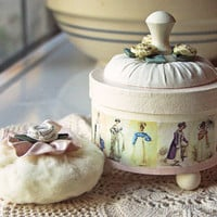JANE AUSTEN Bath Powder Container, Bath Powder Puff, Scented Dusting Powder WHIMSY - Powder Puff Gift Set