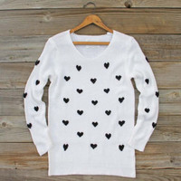 Heart's Content Thermal in White, Sweet Bohemian Sweaters