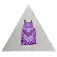 SALE - womens tank top - arrows and lace chest plate print on oversized viscose tanks - THE NOMAD