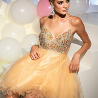 Terani - Gold Beaded Low Back Tulle Cocktail Dress - Unique Vintage - Cocktail, Evening & Pinup Dresses