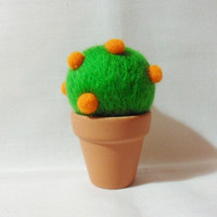 Needle Felted Orange Tree Pin Cushion - felt tree - 100% merino wool - wool felt pin cushion