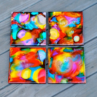 Rainbow Dyed Coasters (Set of 4)
