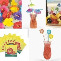 113 Pc LUAU PARTY Table DECOR/Hibiscus/Straws/Parasols/Swizzle Sticks/SUPPLIES/SUPPLY