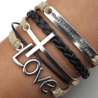 Self-improvement LOVE Lovers Bracelet--silver  LOVE,and cross bracelet--Cream-colored and black  wax rope , black Leather braided bracelet