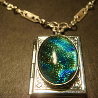 Victorian Style Dichroic Glass Locket Necklace in Antique Silver  (800)