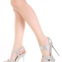 Silver Knotted Vamp Front Shimmer Open Toe Platform Heels @ Amiclubwear Heel Shoes online store sales:Stiletto Heel Shoes,High Heel Pumps,Womens High Heel Shoes,Prom Shoes,Summer Shoes,Spring Shoes,Spool Heel,Womens Dress Shoes,Prom Heels,Prom Pumps,High