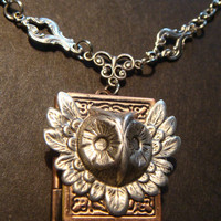 Victorian Style Steampunk Feathered Owl Head Locket Necklace (794)