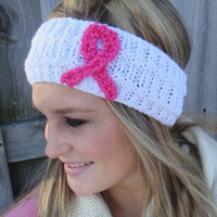 Women&#x27;s Winter Knit Breast Cancer Awareness Headband
