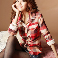 Handsome Red Ladies Grid Shirts Wholesale Online : Wholesaleclothing4u.com