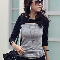 Distinctive Design Ladies Blouses Gray Wholesale : Wholesaleclothing4u.com