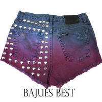 Awesome Dyed Harley Davidson Studded Shorts
