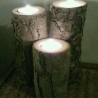 Rustic Candle Holder, Rustic Wedding Centerpiece, Tealight Candle Holder, Log, Indoor or Outdoor, Wedding, Centerpiece