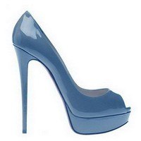 Christian Louboutin Peep 150 Patent Leather Pumps Skyblue - $190.00