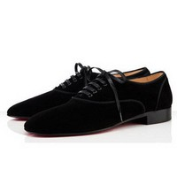 Christian Louboutin Alfred Flat Shoes Suede Black - $199.00