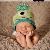 Custom Crochet Monster Hat  in Blue and Green for Babies and Children