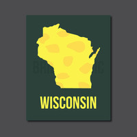 "Wisconsin Map, 8 x 10"" Print, Wall Art"