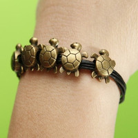 Handmade bronze five longevity turtles bracelet,six black leather cord bracelet