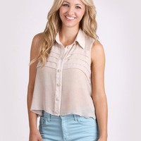 Sheer Luck Button-Up Top @ FrockCandy.com