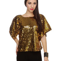 Dazzling Gold Top - Sequin Top - Striped Top - &amp;#36;69.00