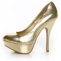 Qupid Onyx 01 Gold Metallic Party Platform Pumps - &amp;#36;30.00